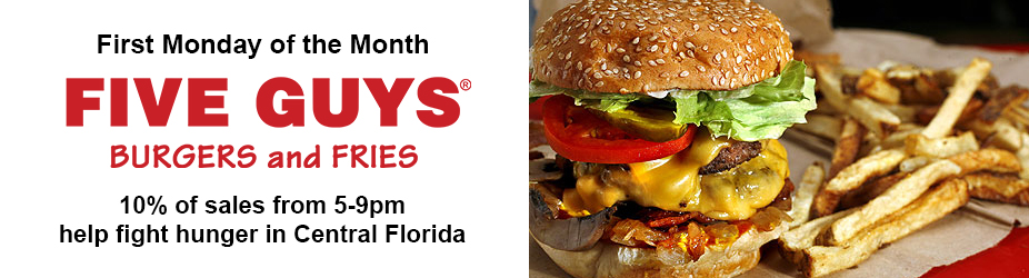 First Monday of the Month at Five Guys Burgers and Fries
